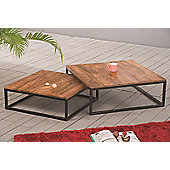 Alana Set of 2 Coffee Table, Solid Acacia Wood Top