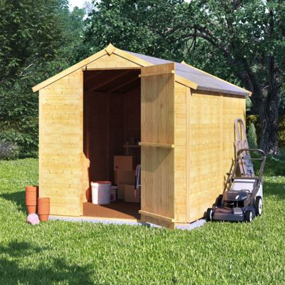 8x6 Tongue and Groove Wooden Garden Storage Shed Single Door Windowless Apex Roof 8ft 6ft - Premium