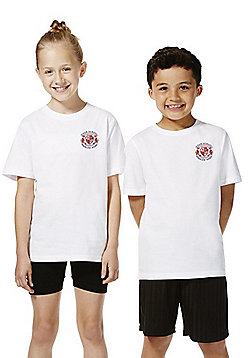 Unisex Embroidered School T-Shirt - White
