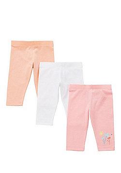 F&F 3 Pack of Flamingo Print and Plain Leggings - Multi
