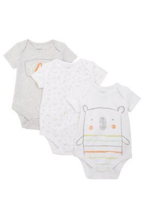 F&F 3 Pack of Bear Short Sleeve Bodysuits Multi 18-24 months