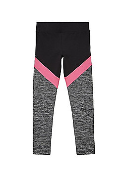 F&F Active Contrast Panel Leggings - Black