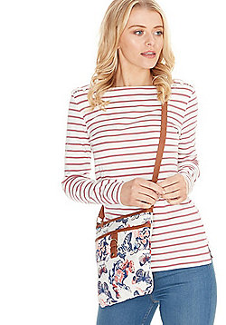 F&F Butterfly Canvas Cross-Body Bag Multi One Size