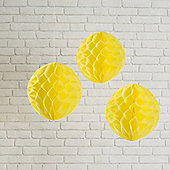 Set of 3 Yellow Paper Honeycomb Decorations