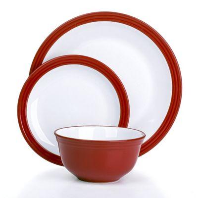 12 Piece Red Camden Banded Stoneware Dinner Set