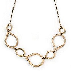 Burn Gold Hammered Teardrop Shape Link Necklace - 32cm Length/ 8cm Extension