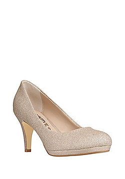 F&F Sensitive Sole Glitter Court Shoes - Gold
