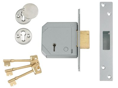 Union 3G114E 5 Lever Mortice Deadlock C-Series 67mm 2.5in Satin Chrome