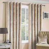 """Champagne Luxury Crushed Velvet Lined Eyelet Curtain Pair, 90 x 90"""""""