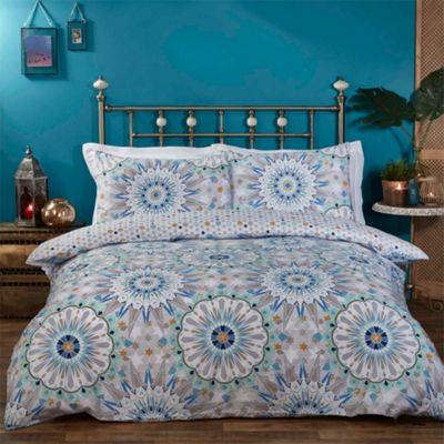 Morocco duvet cover and pillowcase set - blue - single