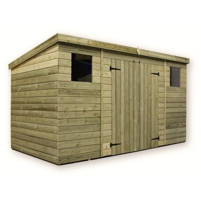 12 x 6 Maldon Large Pressure Treated T&G Pent Shed + Double Doors Centre + 2 Windows (12ft x 6ft)