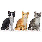 Set of 3 Realistic Small 12cm Sitting Cat Ornament Figurines - Black, Grey & Ginger