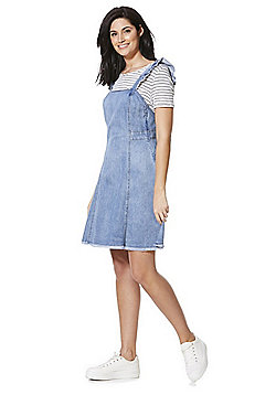 Only Raw Frill A-Line Denim Pinafore Dress - Blue