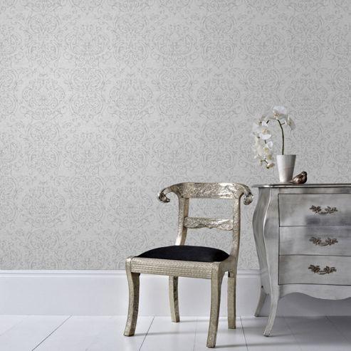 Superfresco Empress Damask Grey Wallpaper