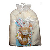Baby Gift Set First StepsFleece Blanket and Plush Rattle - Cream