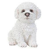 Realistic 15cm Sitting Bichon Frise Puppy Dog Statue Ornament
