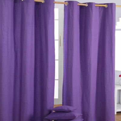 Homescapes Cotton Plain Purple Ready Made Eyelet Curtain Pair, 137 x 228 cm