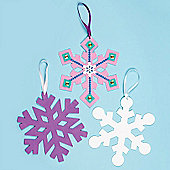 Snowflake Foam Shapes for Children to Decorate Embellish and Hang on Christmas Tree (Pack of 8)