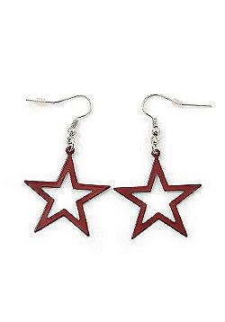 Dark Red Open Star Drop Earrings In Silver Tone Metal - 50mm Length