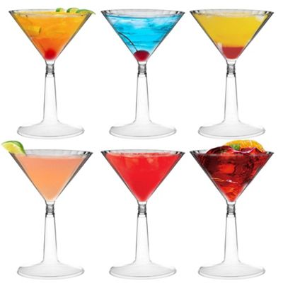 Plastic Cocktail Outdoor Martini Glass - 170ml (6oz) - Pack Of 6