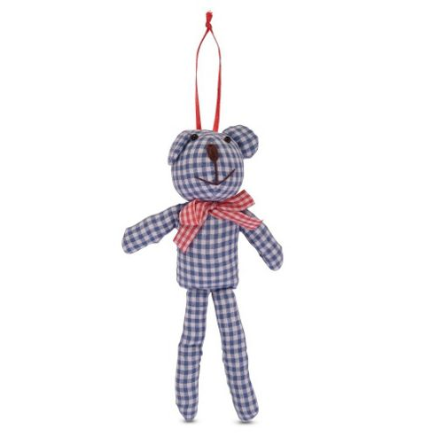 Hanging Fabric Teddy Christmas Tree Decorations In Blue and White Checks
