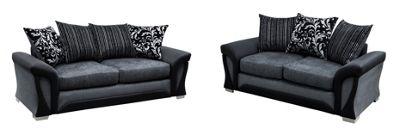 Sorento 3 Seater Sofa + 2 Seater Sofa Chenille Fabric Grey
