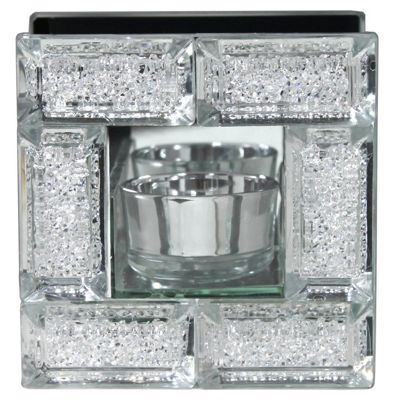 Mirror Crystal Block Single Tealight Holder