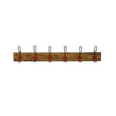 Re-Engineered 6 Hook Coat Hanger Red on wood