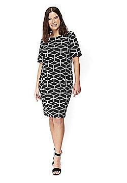 Evans Printed Plus Size Shift Dress - Multi