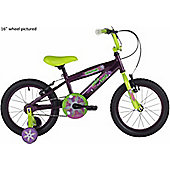 "Bumper Ninja 16"" Wheel Kids Bike Purple/Green Stabilisers"
