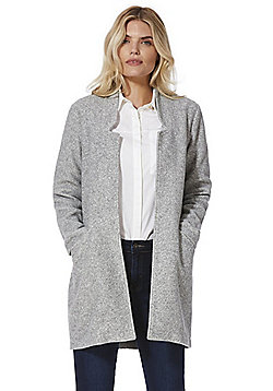 Vero Moda Brushed Notched Lapel Coat - Grey