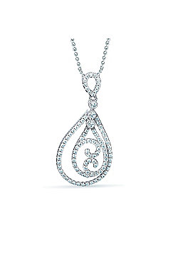 REAL Effect Rhodium Plated Sterling Silver White CZ Double Pear Shape with Swirls Charm Pendant - 16/18 inch