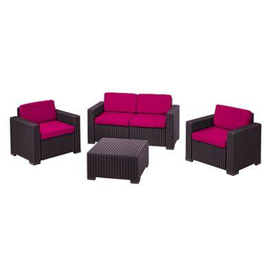 Gardenista Replacement 8 Piece Seat Pad Set for Keter Allibert California Patio Set - Pink