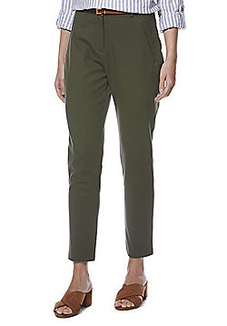 F&F Ankle Grazer Slim Leg Trousers with Belt - Khaki
