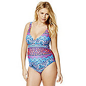 F&F Tile Print Wrap Front Maternity Swimsuit - Blue & Pink