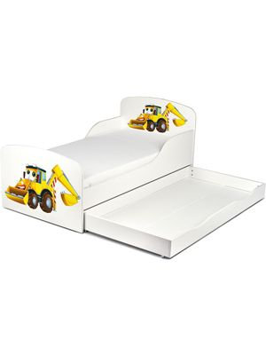 PriceRightHome Diggers Toddler Bed With Storage & Deluxe Foam Mattress