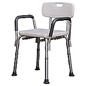Homcom Portable Shower Bench Stool with Adjustable Back and Armrest