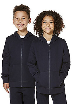 F&F School Unisex Zip-Through Hoodie with As New Technology - Navy