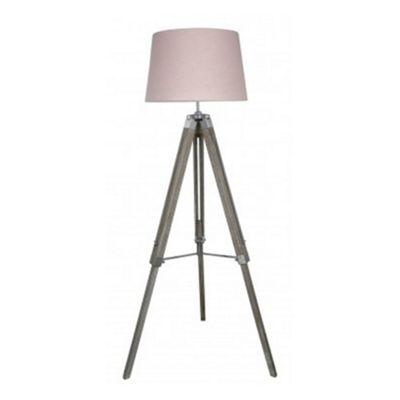 Natural Grey Hollywood Floor Lamp With Pink Shade