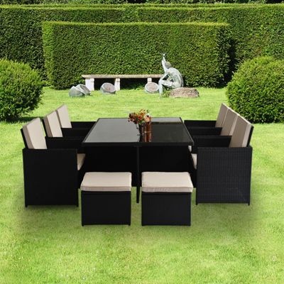 outsunny 11pc rattan garden furniture cube dining set black - Rattan Garden Furniture Tesco