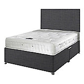 Happy Beds Signature Platinum 2000 Mattress Divan Bed Set Plain Headboard Charcoal