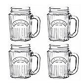 Kilner Vintage Style Handled Glass Jars, Ribbed Designed Surface, 400ml, Set of 4