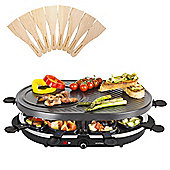Andrew James Traditional Raclette Grill, 8 Person, 8 Spatulas - 1200W