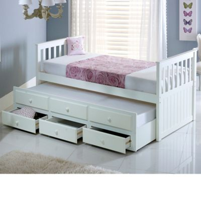 Happy Beds Maple Wood Guest Bed and Underbed Trundle with Storage Drawers plus 2 Memory Foam Mattresses - White - 3ft Single