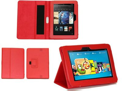 Navitech Red Faux Leather Case With Flip Stand & Hand Strap For The Kindle Fire HD 7 inch