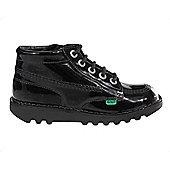 Kickers Kick Hi Patent Junior Girls School Shoe Boot Black - Black