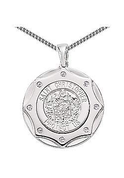 Rhodium-Coated Sterling Silver St Christopher Pendant