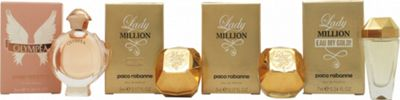 Paco Rabanne Women Miniature Gift Set 6ml Olympea EDP + 5ml Lady Million Absolutely Gold EDP + 5ml Lady Million EDP + 7ml Lady Million Eau My Gold!