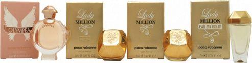 Paco Rabanne Women Miniature Gift Set 6ml Olympea EDP + 5ml Lady Million Absolutely Gold EDP + 5ml Lady Million EDP + 7ml Lady Million Eau My Gold!
