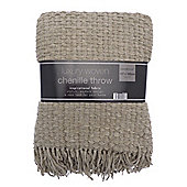 Country Club Luxury Woven Chenille Throw 127 x 152cm, Natural